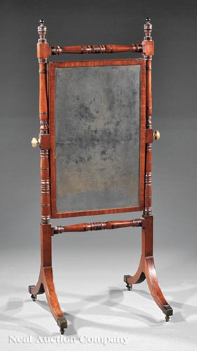 Regency Carved Mahogany Cheval Mirror