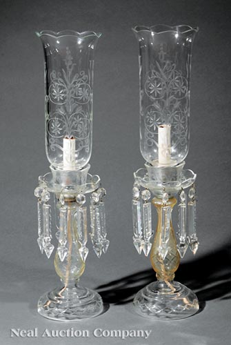 Pair of American Cut Glass Photophores