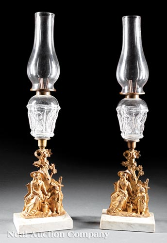 Pair of American Sandwich Glass Peg Lamps