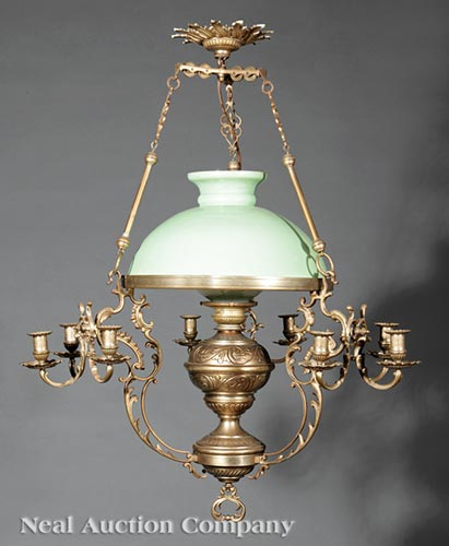 American Brass Oil and Candle Powered Chandelier