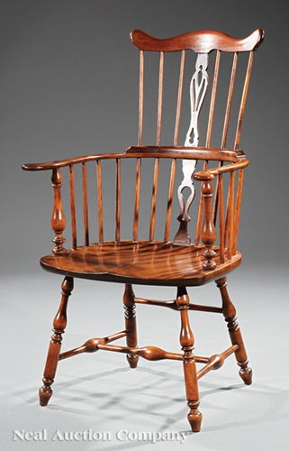 American Colonial Revival Walnut Windsor Chair