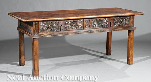 Renaissance-Style Carved Walnut Table