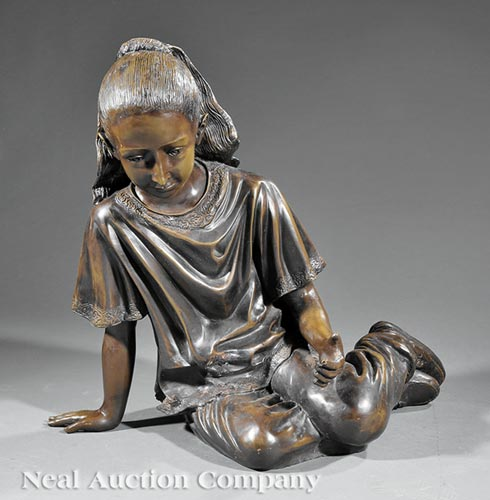 Contemporary Bronze Figure of a Seated Girl