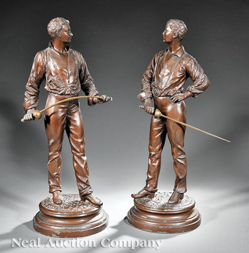 Pair of French Patinated Metal Figures