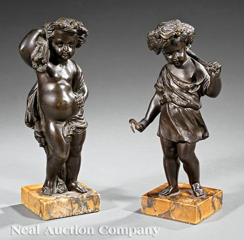 Pair of Small Bronze Figures of Putti at Harvest