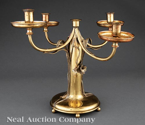 Art Nouveau Brass Five-Light Candelabrum