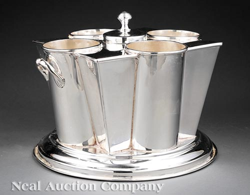 Handsome Silverplate Four Bottle Wine Cooler