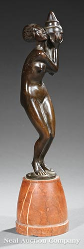 Modernist Metal Figure of a Lady Holding a Shell