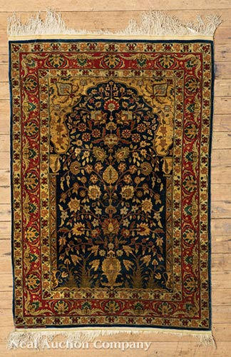 Two Persian Silk Prayer Rugs