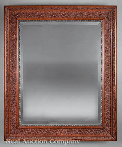 French or American Aesthetic Carved Oak Mirror