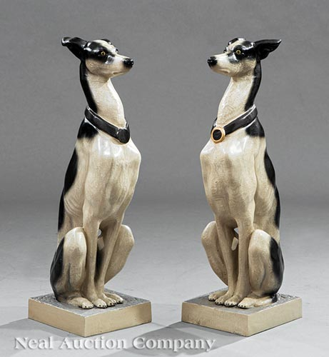 Pair of Polychromed Cast Metal Whippets