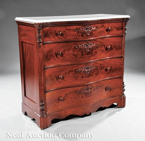 American Rococo Carved Mahogany Chest of Drawers