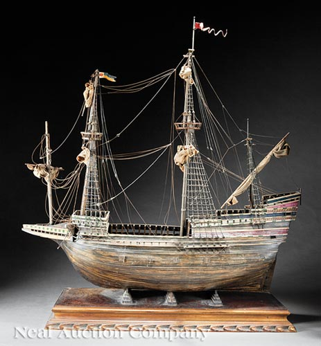 Handmade Wooden Model of a Galleon