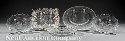 Five Anglo-Irish Cut Glass Serving Pieces