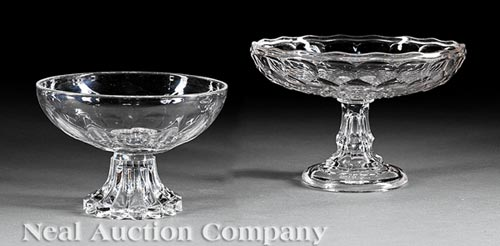 Two American Glass Footed Compotes