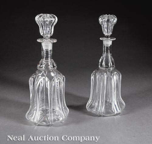 Pair of American Blown Glass Decanters