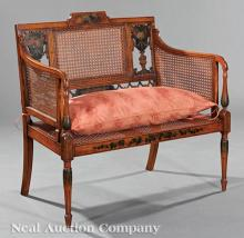 English Paint-Decorated Satinwood Settee