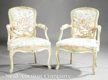 Louis XV Carved and Creme Peinte Fauteuils