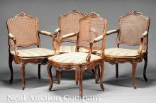 Fine Suite of Four French Provincial Carved Mahogany Fauteuils