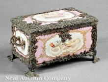 Bronze-Mounted Polychrome Porcelain Coffer