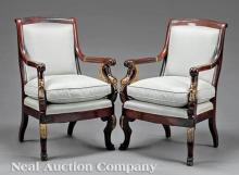 Carved and Gilded Mahogany Fauteuils