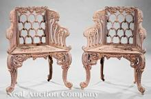 Pair of Antique American Cast Iron Garden Chairs
