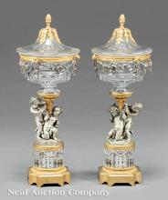 Gilt Bronze Argente and Crystal Covered Compotes