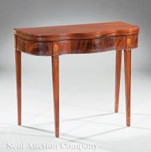 Antique American Inlaid Mahogany Games Table