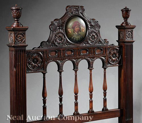 Spanish baroque style carved walnut bedstead for Spanish baroque furniture
