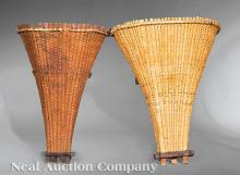 Two Antique French Grape Harvest Baskets