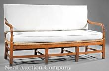 French Provincial Cherrywood and Rush Sofa
