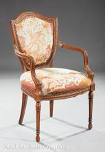Antique Carved Fruitwood Fauteuil