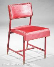 Jacques Adnet Stitched Leather, Brass Side Chair