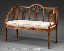 Neoclassical-Style Carved Walnut Settee