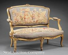 Louis XV-Style Carved and Giltwood Settee