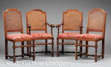 Jacobean-Style Carved Mahogany Dining Chairs