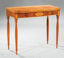 American Federal Inlaid Cherrywood Games Table