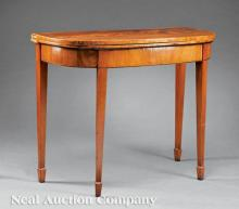 American Federal Mahogany Demilune Games Table