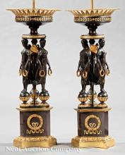 Empire-Style Patinated Bronze Figural Lamps