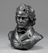 French Cast Iron Bust of Ludwig van Beethoven