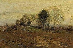 Chauncey Foster Ryder (American, 1868-1949), The Old Road to Frameston, oil on canvas, signed lower right, Henry Schultheis Company, New York City label en verso, 20 in. x 30 in., in an antique giltwood frame. E8000-12000 Provenance: Estate of Mrs.