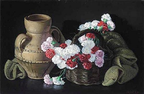 Jesus Villar (French, 20th century.), 'Still Life with Carnations and Vase', oil on canvas, signed lower right, 36 in. x 24 in., framed.