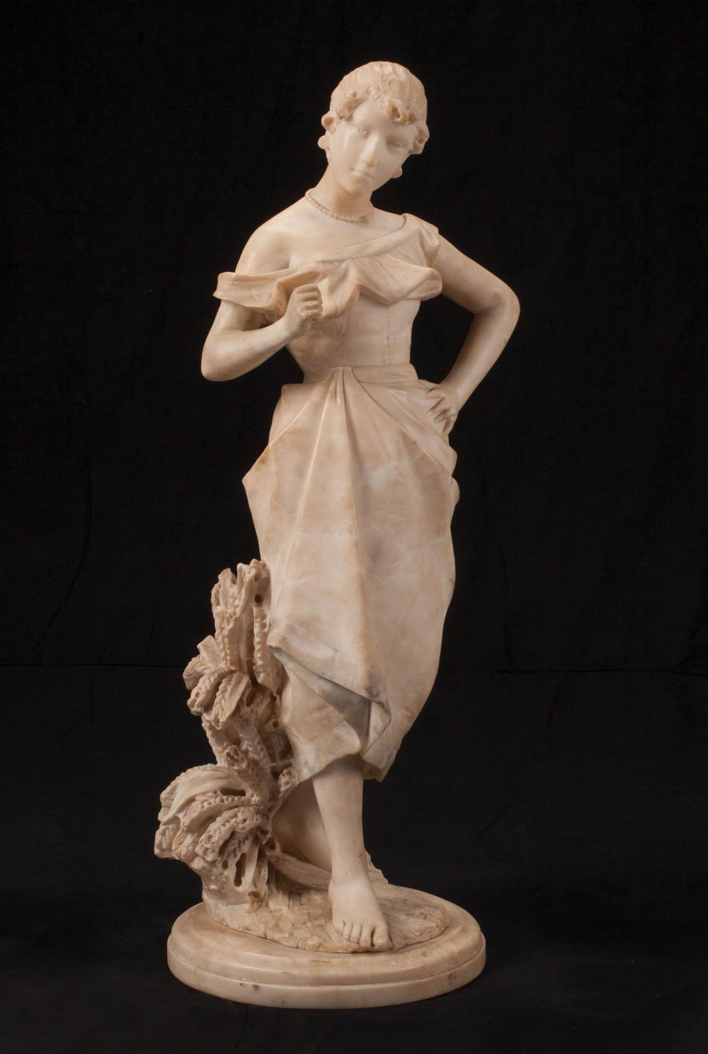 Italian Carved Alabaster Figure of a Maiden