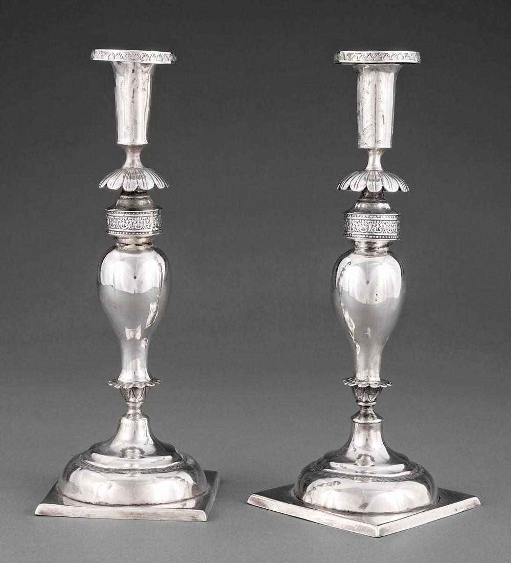 Pair of Continental @.750 Silver Candlesticks