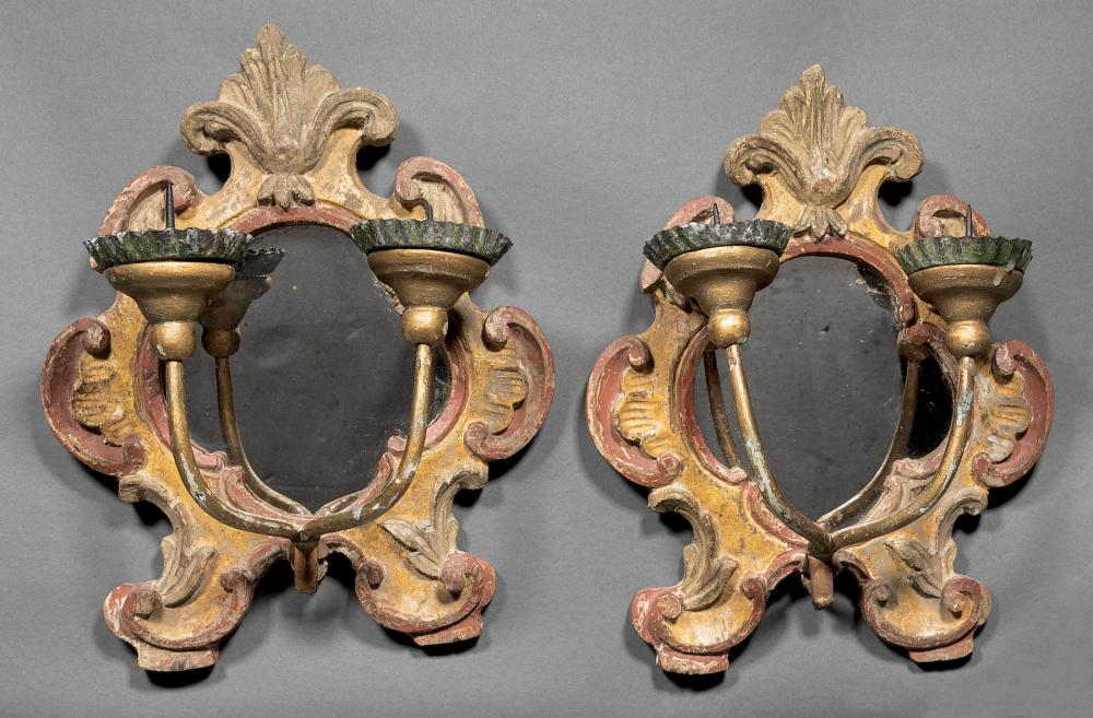 Italian Painted and Parcel Gilt Mirrored Sconces