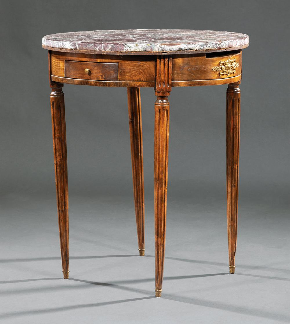 Louis XVI-Style Carved Walnut Bouillotte Table