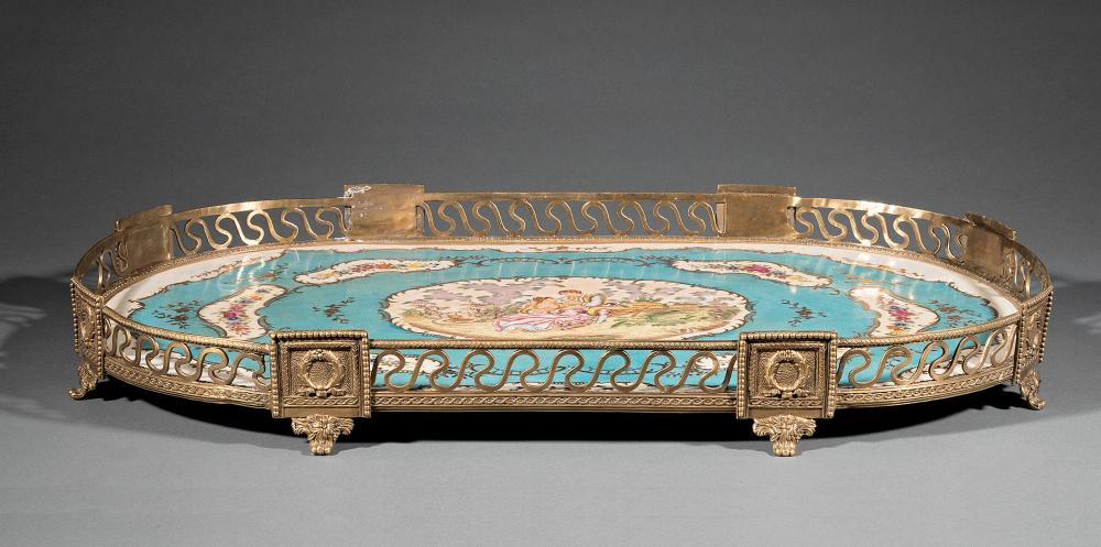 Sevres-Style Bronze and Porcelain Plateau