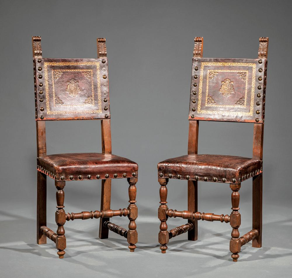 Carved Walnut and Tooled Leather Side Chairs