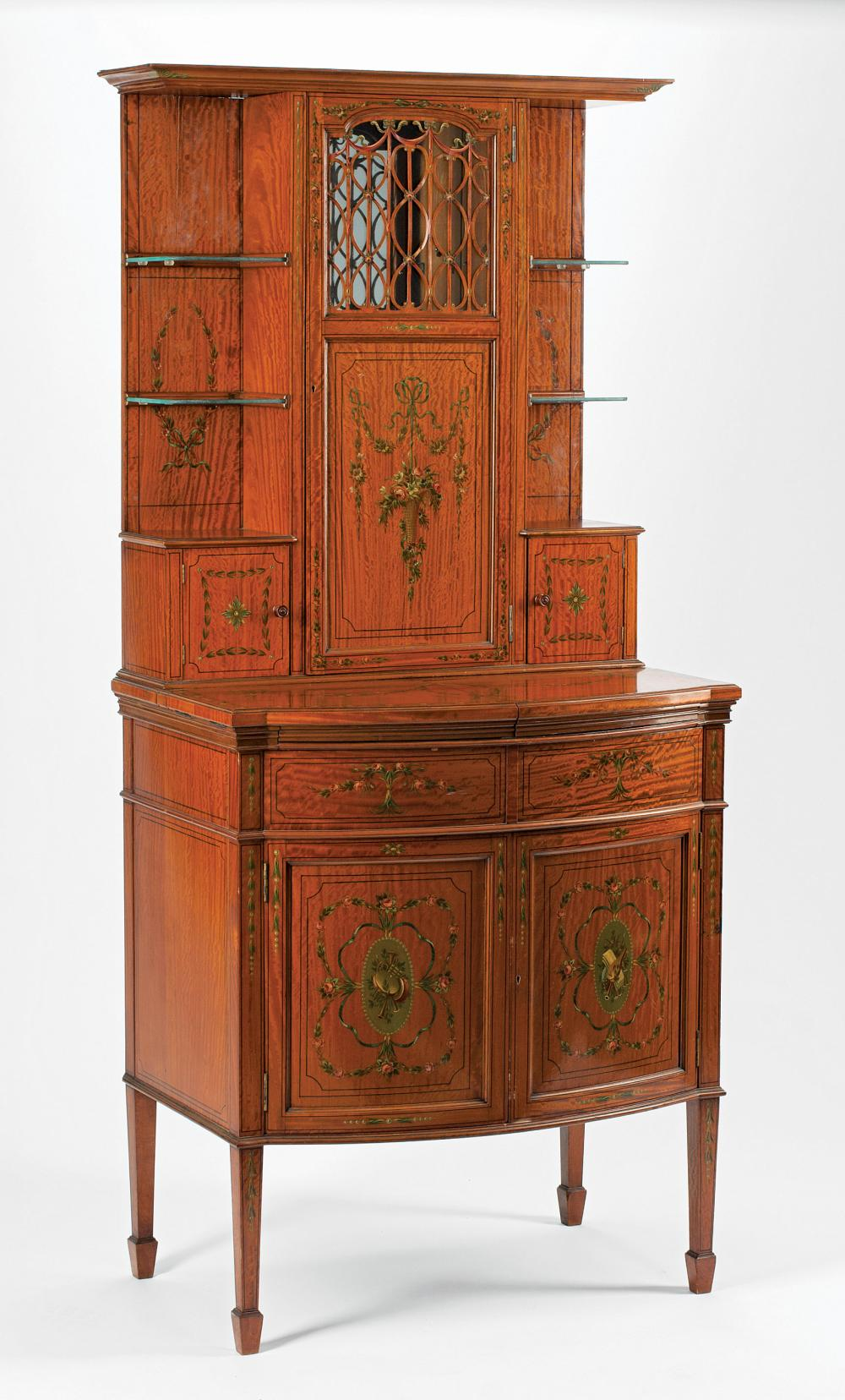 Paint-Decorated Satinwood Drinks Cabinet