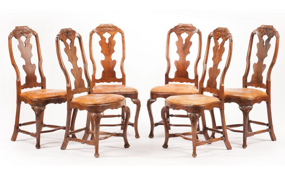 Six Continental Carved Walnut Side Chairs